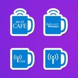 Etiquetas engomadas del café de Internet stock de ilustración