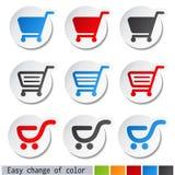 etiquetas engomadas del carro de la compra - carretilla, artículo o botón Fotos de archivo libres de regalías