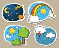 Etiquetas engomadas del cielo de la historieta Fotos de archivo libres de regalías
