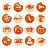 Etiquetas engomadas del cine y del teatro Imágenes de archivo libres de regalías