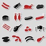 Etiquetas engomadas del color de comida de la carne y sistema de símbolos Foto de archivo libre de regalías