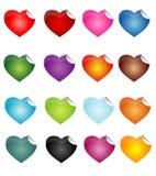 Etiquetas engomadas del corazón Imagen de archivo libre de regalías