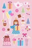 Etiquetas engomadas del cumpleaños ilustración del vector