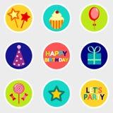 Etiquetas engomadas del cumpleaños fijadas con el icono Imagen de archivo libre de regalías