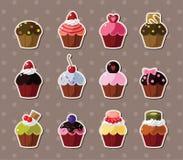 Etiquetas engomadas del Cup-cake Imágenes de archivo libres de regalías
