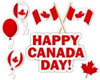 Etiquetas engomadas del día de Canadá. Imagenes de archivo