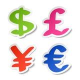 Etiquetas engomadas del dólar, del euro, de los Yenes y de la libra Fotografía de archivo libre de regalías