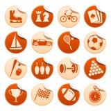 Etiquetas engomadas del deporte y de la manía Foto de archivo libre de regalías