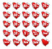 Etiquetas engomadas del descuento de la venta de la tarjeta del día de San Valentín Fotos de archivo libres de regalías