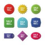 Etiquetas engomadas del descuento Etiquetas de la venta de la oferta del precio especial Etiquetas del vector de la mercancía ilustración del vector