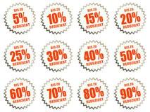 etiquetas engomadas del descuento para las ofertas del precio Imágenes de archivo libres de regalías