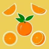 Etiquetas engomadas del diseño con la naranja jugosa Fotos de archivo libres de regalías