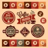 Etiquetas engomadas del diseño del café Fotografía de archivo