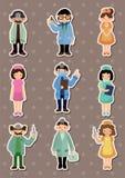 Etiquetas engomadas del doctor y de la enfermera de la historieta Fotografía de archivo libre de regalías