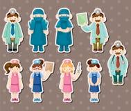 Etiquetas engomadas del doctor y de la enfermera de la historieta Foto de archivo libre de regalías