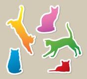 Etiquetas engomadas del gato Imagen de archivo libre de regalías