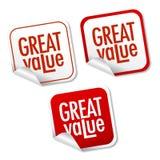 Etiquetas engomadas del gran valor Imagen de archivo libre de regalías