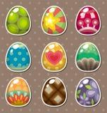 Etiquetas engomadas del huevo de Pascua de la historieta Foto de archivo