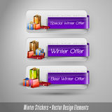 Etiquetas engomadas del invierno del negocio con los regalos Imagen de archivo