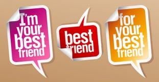 Etiquetas engomadas del mejor amigo. Imagen de archivo libre de regalías