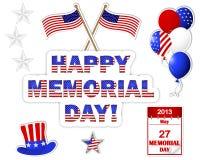 Etiquetas engomadas del Memorial Day. Fotografía de archivo