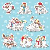 Etiquetas engomadas del muñeco de nieve. Ejemplo del vector. Imagenes de archivo