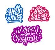 Etiquetas engomadas del navidad de la Feliz Navidad y de Feliz Foto de archivo libre de regalías