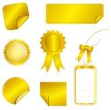 Etiquetas engomadas del oro Imagen de archivo libre de regalías