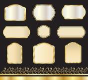 Etiquetas engomadas del oro fijadas ilustración del vector