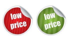 Etiquetas engomadas del precio bajo ilustración del vector