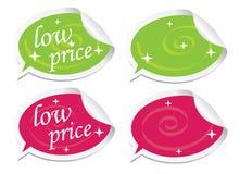 Etiquetas engomadas del precio bajo stock de ilustración