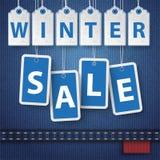 Etiquetas engomadas del precio de venta del invierno de los vaqueros Imagen de archivo libre de regalías