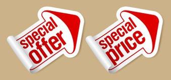 Etiquetas engomadas del precio especial. Imagen de archivo libre de regalías
