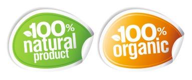 etiquetas engomadas del producto natural del 100%. Imagen de archivo libre de regalías