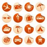 Etiquetas engomadas del recorrido y del turismo Ilustración del Vector