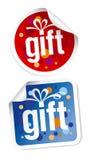 Etiquetas engomadas del regalo Foto de archivo libre de regalías