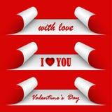 Etiquetas engomadas del rojo del día de tarjetas del día de San Valentín Imagen de archivo libre de regalías