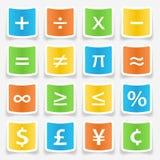 Etiquetas engomadas del símbolo de la matemáticas Imagen de archivo libre de regalías