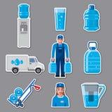 Etiquetas engomadas del servicio de entrega del agua Imagen de archivo libre de regalías