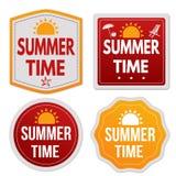 Etiquetas engomadas del tiempo de verano fijadas Imagen de archivo libre de regalías