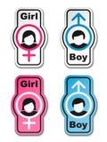 Etiquetas engomadas del tocador de la muchacha del muchacho Imagenes de archivo