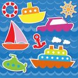 Etiquetas engomadas del transporte de marina Foto de archivo libre de regalías