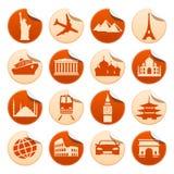 Etiquetas engomadas del transporte y de las vistas Stock de ilustración