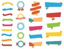 Etiquetas engomadas del vector, banderas de las etiquetas y cintas libre illustration