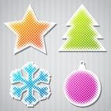 Etiquetas engomadas del vector de la Navidad con el árbol, estrella Imagen de archivo libre de regalías