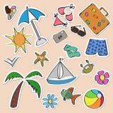 Etiquetas engomadas del verano fijadas Imagenes de archivo