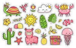 Etiquetas engomadas del verano Sistema de los remiendos de la historieta, insignias, pernos, impresiones para los niños Doodle el ilustración del vector