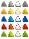 Etiquetas engomadas del Web, escrituras de la etiqueta e iconos - triángulo Imagen de archivo libre de regalías