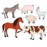 Etiquetas engomadas determinadas del vector de la historieta de los animales del campo con el ganado nacional, animal doméstico Fotos de archivo libres de regalías