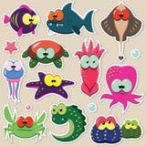 Etiquetas engomadas divertidas del animal de mar fijadas Fotos de archivo